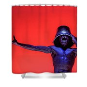 Screaming Dancer On Red Shower Curtain