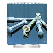 Screwbolts Screw Nuts, Hanger And Bolt Washers On Blue Background Construction Concept. Shower Curtain