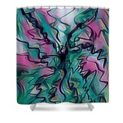 Scribbling Effect Shower Curtain