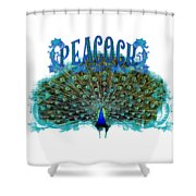 Scroll Swirl Art Deco Nouveau Peacock W Tail Feathers Spread Shower Curtain