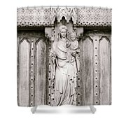 Sculpture Above North Entrance Of Westminster Abbey London Bw Shower Curtain