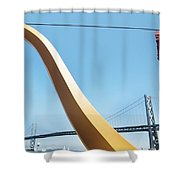 Sculpture By San Francisco Bay Bridge Shower Curtain