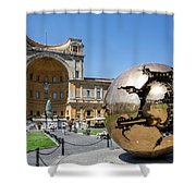 Sculpture In The Pinecone Courtyard Shower Curtain