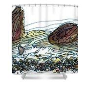 Sea And Rocks Landscape Shower Curtain