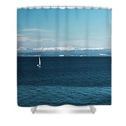 Sea And Snowy Alps Shower Curtain