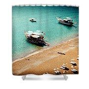 Sea Boats In The Laguna Shower Curtain