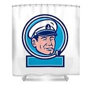 Sea Captain Smoking Pipe Circle Retro Shower Curtain