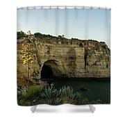 Sea Cave And Agave Bloom Spike - The Magic Of Algarve Portugal Shower Curtain