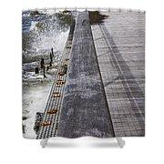 Sea Cliff Seawall Boardwalk Shower Curtain