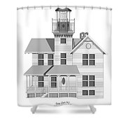 Sea Girt New Jersey Architectural Drawing Shower Curtain
