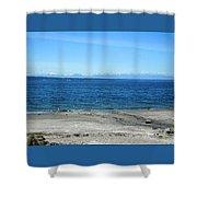 Sea Gulls Gather Shower Curtain