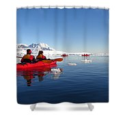Sea Kayaking Past Icebergs Shower Curtain