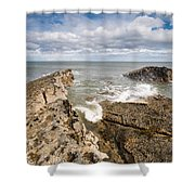 Sea Meets Rocks At Howick Shower Curtain