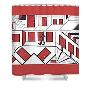 Red Doors Shower Curtain