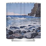 Sea Pounded Stones At Crackington Haven Shower Curtain