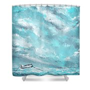 Sea Spirit - Teal And Gray Art Shower Curtain