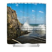 Sea Spray At Mevagissey Harbour Shower Curtain