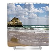 Sea Stack Sculpted Like A Ship Riding The Waves Shower Curtain