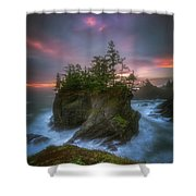 Sea Stack With Trees Of Oregon Coast Shower Curtain