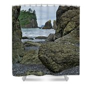 Sea Stacks And Boulders Washington State Shower Curtain