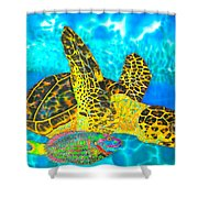 Sea Turtle And Parrotfish Shower Curtain