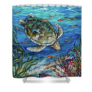 Sea Turtle Dive Shower Curtain