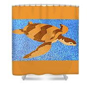 Sea Turtle Inlay In Vibrant Colors Shower Curtain