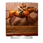 Seabiscuit Final Victory With Red Pollard Bronze Racehorse Sculpture  Shower Curtain
