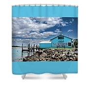 Seafood On The River  Shower Curtain