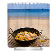 Seafood Paella In Cafe Shower Curtain