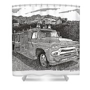Seagrave Gmc Firetruck Shower Curtain