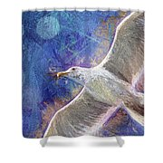 Seagull Against Blue Abstract Shower Curtain