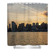 Seagull Flying At Sunset With The Skyline Of Boston On The Backg Shower Curtain