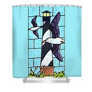 Seagulls And Lighthouse Shower Curtain
