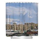 Seagulls Over Mylor Creek Boatyard Shower Curtain