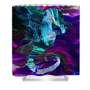 Seahorse In A Lightning Storm Shower Curtain