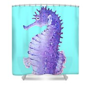 Seahorse Painting On Blue Background Shower Curtain