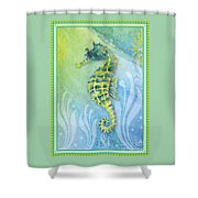 Seahorse Blue Green Shower Curtain