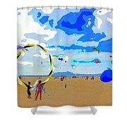Seal Beach Kite Fly Shower Curtain