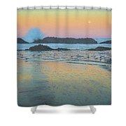 Seal Rock Moonset Shower Curtain