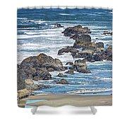 Seal Rock Seascape Shower Curtain