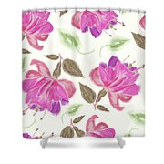seamless   pattern of watercolor Fuchsia Flowers Shower Curtain