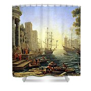 Seaport With The Embarkation Of Saint Ursula  Shower Curtain