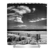 Seascape In Black And White Shower Curtain