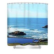 Seascape San Francisco Sutro Bath Pacific Ocean Shore Shower Curtain