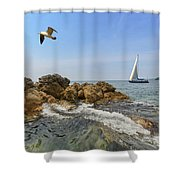 Seascape With A Yacht Shower Curtain