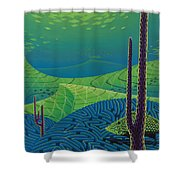 Seascape With Brain Coral And A Blue Striped Grunt Shower Curtain