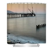 Seascape With Deserted Jetty During Sunset Shower Curtain