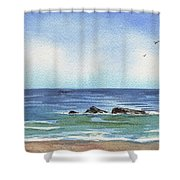 Seascape With Three Rocks Shower Curtain