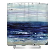 Seascape With White Cats Shower Curtain